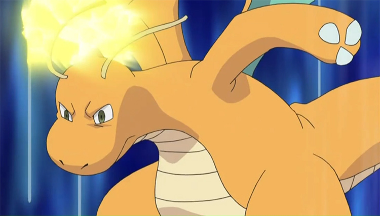 Angry Dragonite battle stance in Pokemon anime