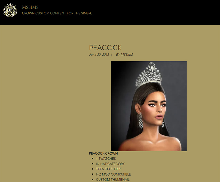 Peacock Crown CC for TS4