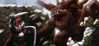 Digital painting - warrior vs beast monster