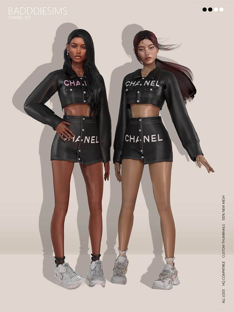 Chanel Set CC - top and skirt for Sims 4