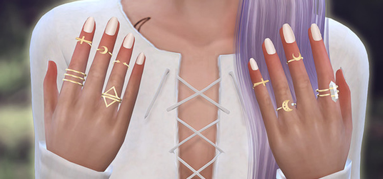 Nails 1 Accessory CC - custom rings in TS4