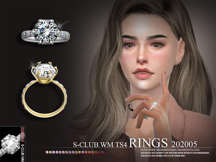 S-Club custom CC - Sims 4 beautiful girl ring