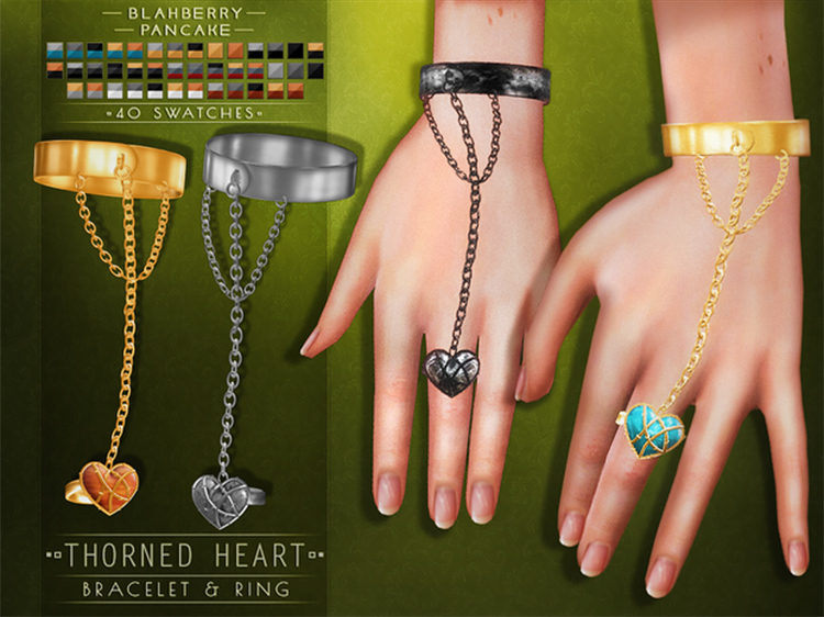 Black heart bracelet and ring CC for The Sims 4