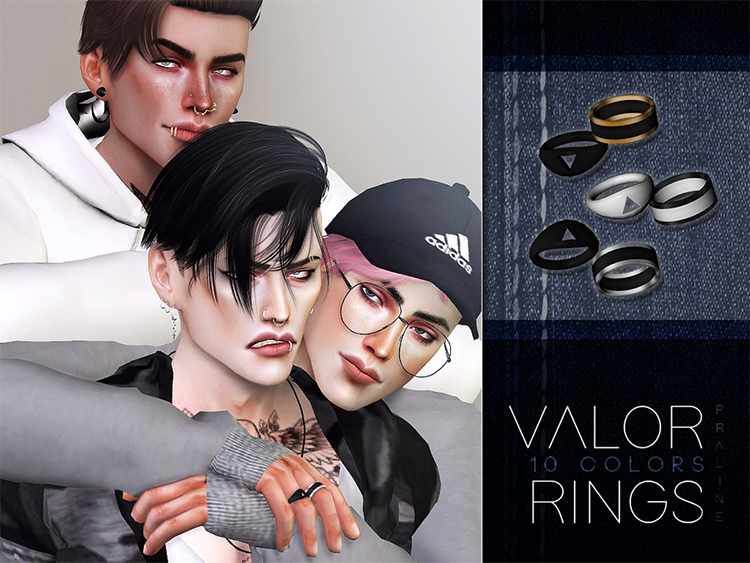 Colorful valor rings for guys - TS4 CC