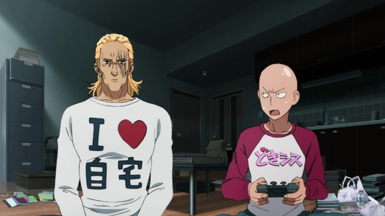 Saitama and King from One Punch Man anime