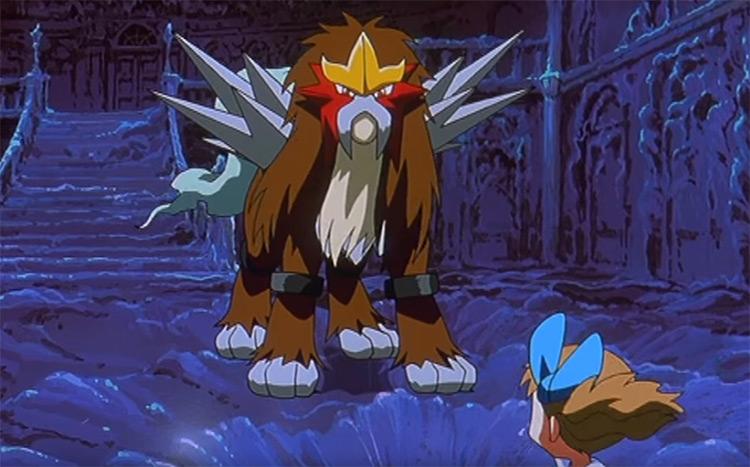 Entei legendary fire dog Pokemon from the anime