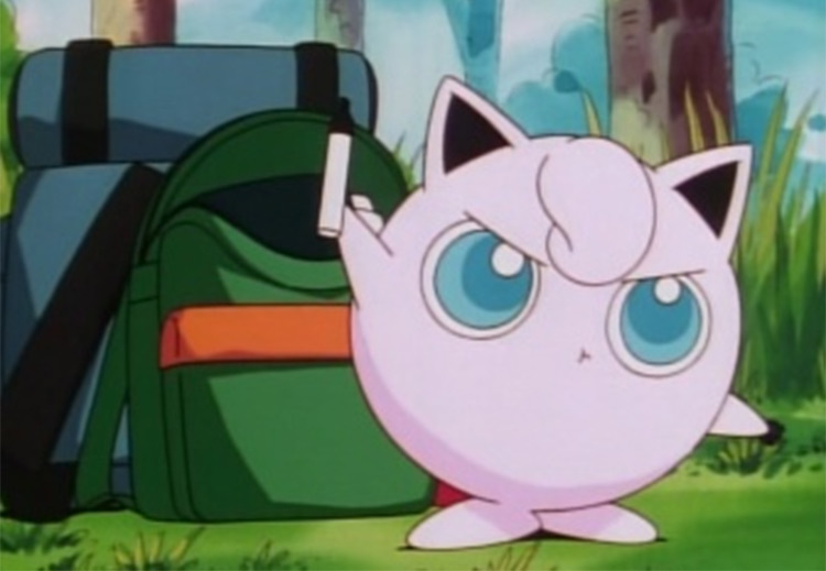 Jigglypuff pink Pokemon, anime screenshot