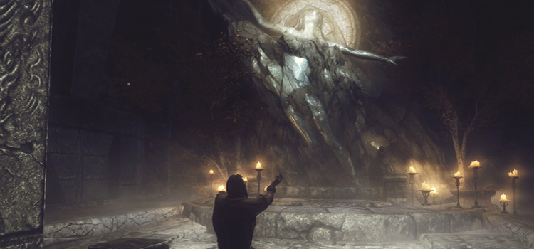 Skyrim meditating at temple HD screenshot